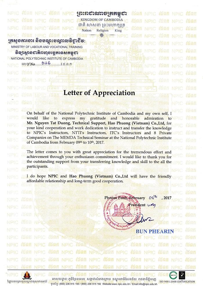 Hạo Phương nhận thư cám ơn từ phía học viện Cambodia