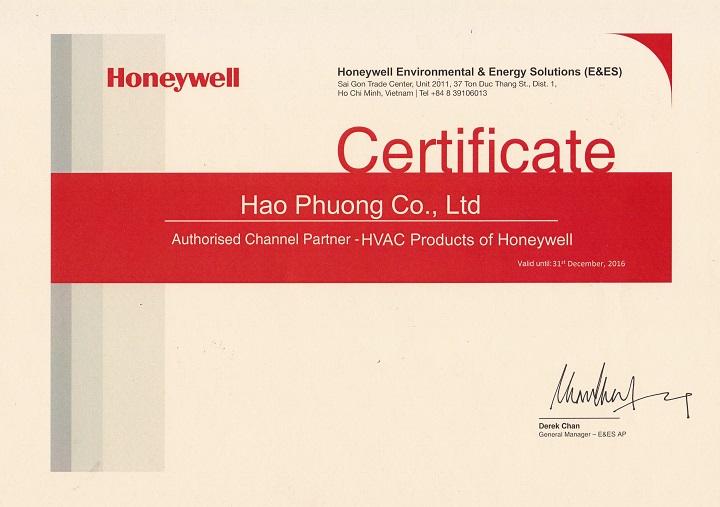 Chứng nhận Hạo Phương nhà phân phối HVAC Honeywell