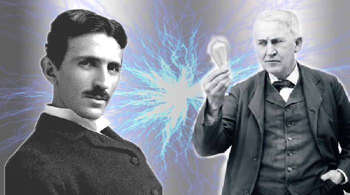 Nikola Tesla (trái) và Thomas Edison (phải)