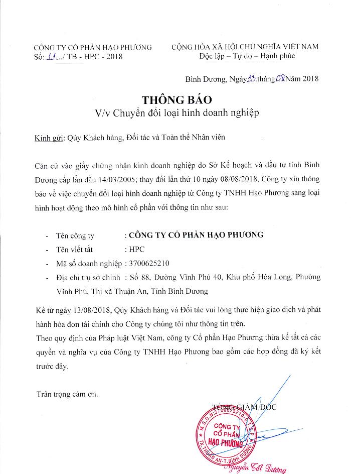 Thông báo công ty Hạo Phương chuyển đổi loại hình doanh nghiệp từ TNHH sang cổ phần