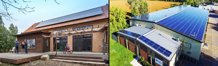 Tấm pin năng lượng mặt trời trên mái nhà
