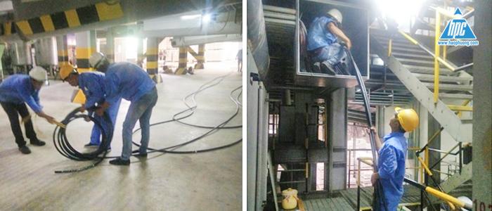 kéo cáp 300 mm2 cấp nguồn cho máy ép viên