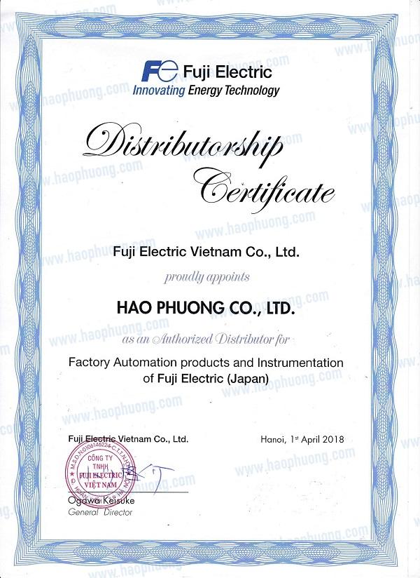 Certificate of Hao Phuong - an Automatic Fuji Electric