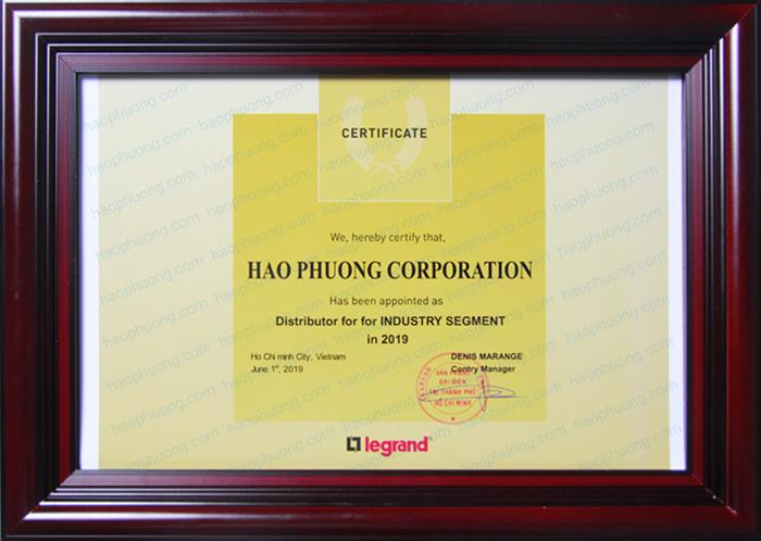 Chứng nhận Hạo Phương là nhà phân phối thiết bị Legrand