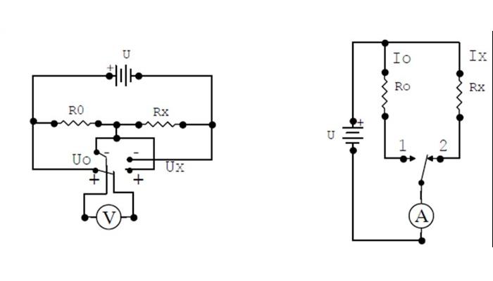 Sơ đồ mắc Ampe kế hoặc Vôn kế cùng điện trở mẫu đo điện trở