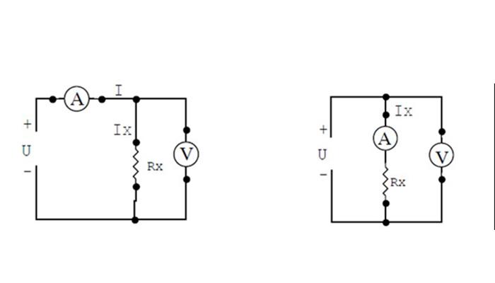 Sơ đồ mắc Ampe kế và Vôn kế đo điện trở dựa theo định luật Ohm