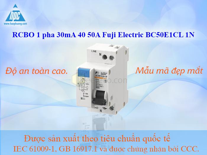 RCBO 1 pha 30mA 40 50A Fuji Electric BC50E1CL 1N