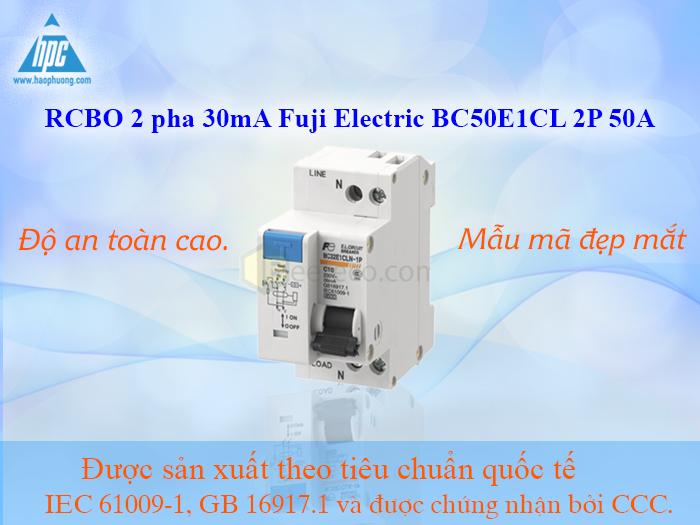 RCBO 2 pha 30mA Fuji Electric BC50E1CL 2P 50A