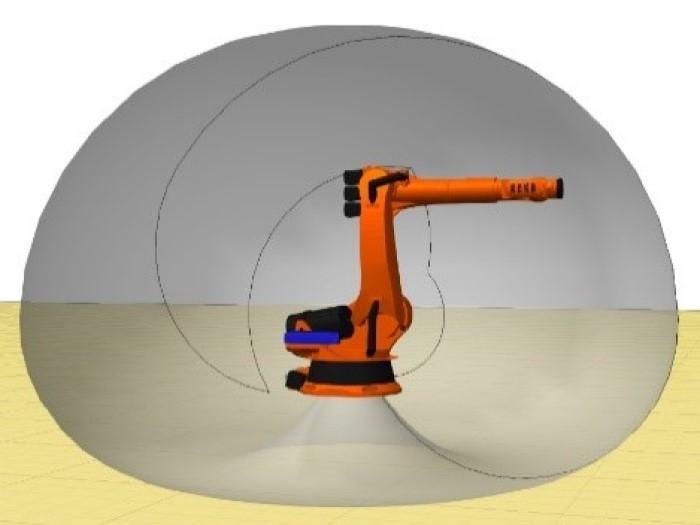 Minh họa tầm với của robot xếp hàng hóa