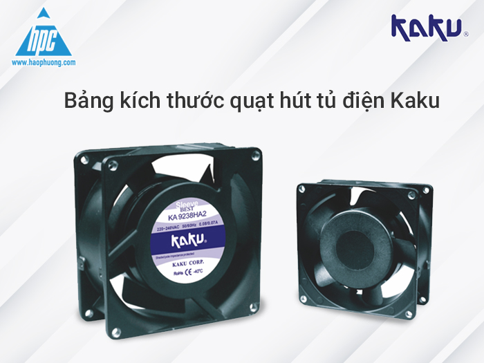 Bảng kích thước quạt hút tủ điện Kaku