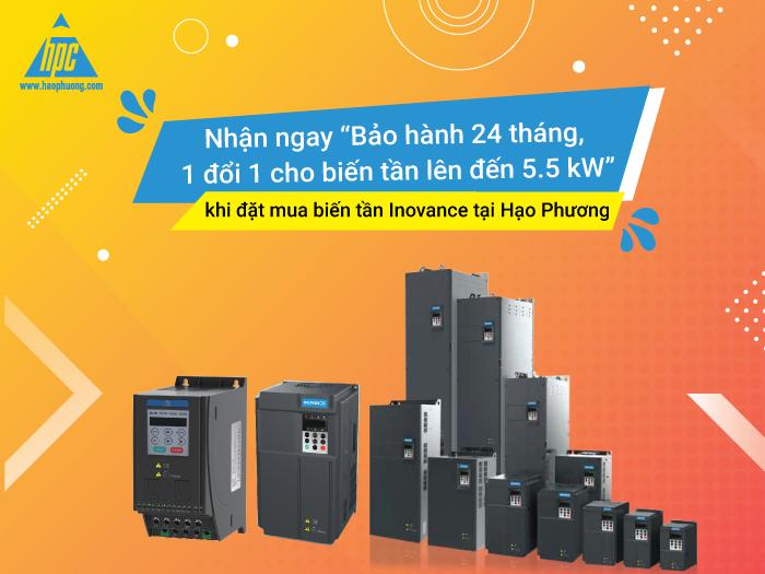 """Nhận ngay """"Bảo hành 24 tháng, 1 đổi 1 cho biến tần lên đến 5.5 kW"""" khi đặt mua biến tần Inovance tại Hạo Phương"""