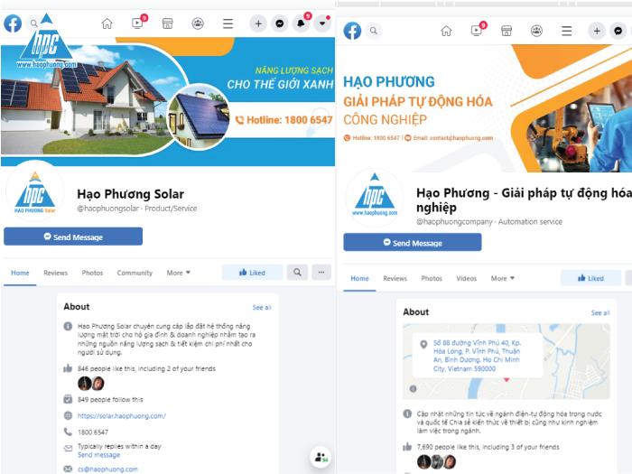 Một số Fanpage Facebook của Hạo Phương