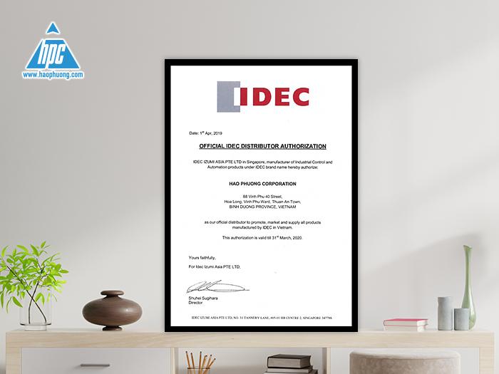 Chứng nhận Hạo Phương là nhà phân phối của Idec